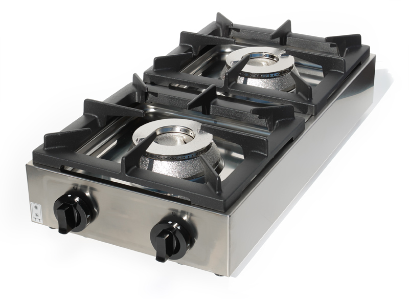edelstahl 2 flammen profi gastro gaskocher gas kocher tischkocher gasherd erdgas ebay. Black Bedroom Furniture Sets. Home Design Ideas