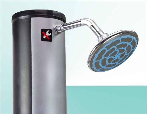 Solardusche 35 liter gartendusche pool camping dusche for Gartendusche bodenplatte